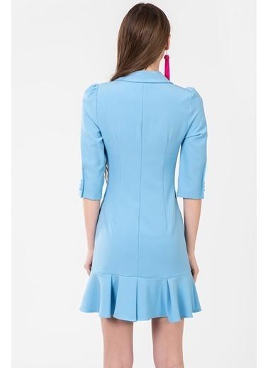 İroni Mini Ceket Elbise Mavi